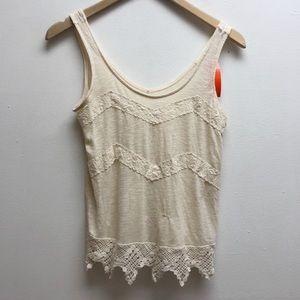 Monteau cream beige tank crochet lace small